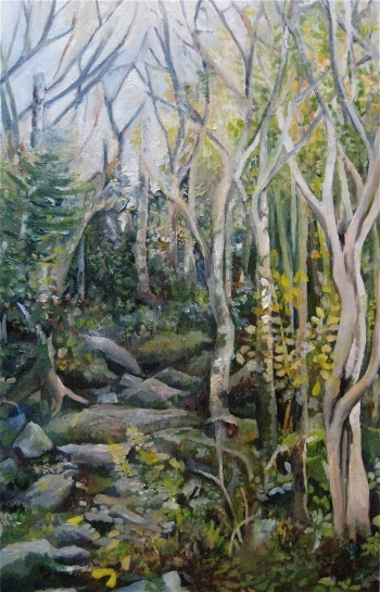 """Long Trail Forest"" oil on wood. sold."